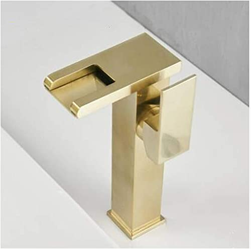 DOTXX LED Basin Faucet Square Single Handle Brass Waterfall Basin Faucet Sink Tap with Cold and Hot Water, Deck Mounted Bathroom Vanity Faucets,Brushed Gold a