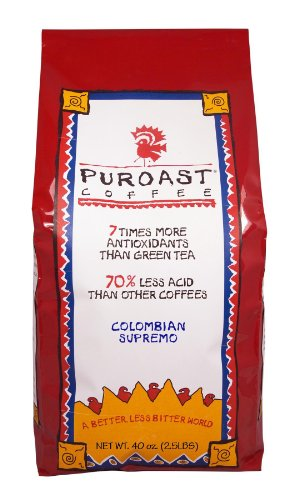 Puroast Low Acid Coffee Colombian Supremo Blend Whole Bean, 2.5 Pound Bag