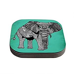 """Kess InHouse Pom Graphic Design """"Elephant of Namibia Color"""" Coasters, 4 by 4-Inch, Teal/Gray, Set of 4"""