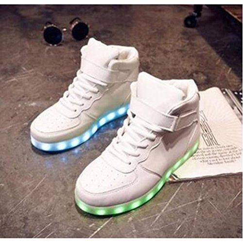 de Mujer toalla USB Top JUNGLEST® luz LED brillo C deporte Blanco pequeña Presente con con Hombre Pareja Zapatillas High 0qwAAtd