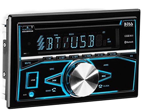 BOSS Audio 850BRGB Car Stereo – Double Din, Bluetooth, CD/MP3/USB AM/FM Radio, Multi Color Illumination