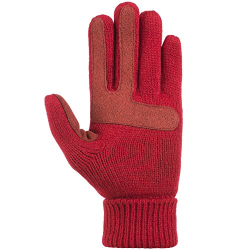 rtouch Solid Triple Cable Knit Glove with Palm Patches, Really Red, One Size ()