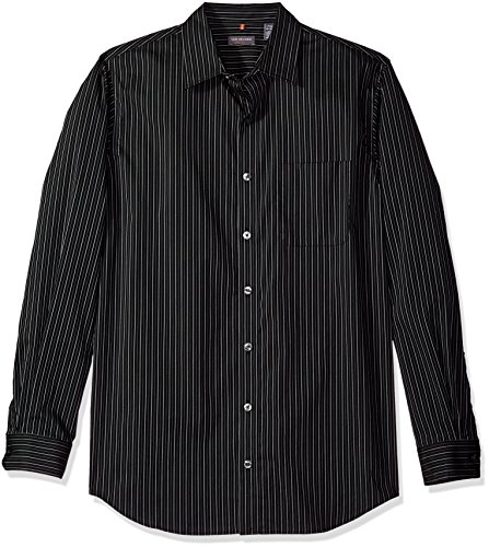 Shirt Dress Stripe (Van Heusen Men's Big and Tall Traveler Button Down Long Sleeve Stretch Black/Khaki/Grey Shirt, Thin Stripe, 2X-Large)