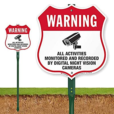 """""""Warning - All Activities Monitored and Recorded by Digital Night Vision Cameras"""" Shield Sign by SmartSign 