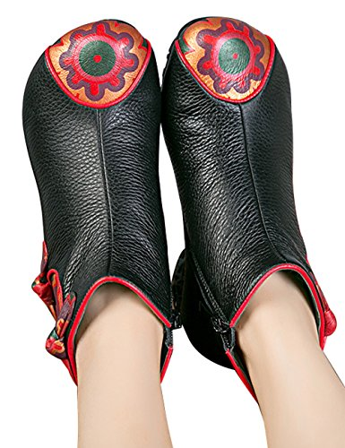Zoulee Donna Stivaletti Alla Caviglia Casual Retro Cerniera Alta Blocco Tacco Stivali Di Pelle Alla Caviglia Stile 6 Nero