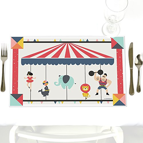 Carnival Circus - Cirque du Soiree - Party Table Decorations - Baby Shower or Birthday Party Placemats - Set of 12