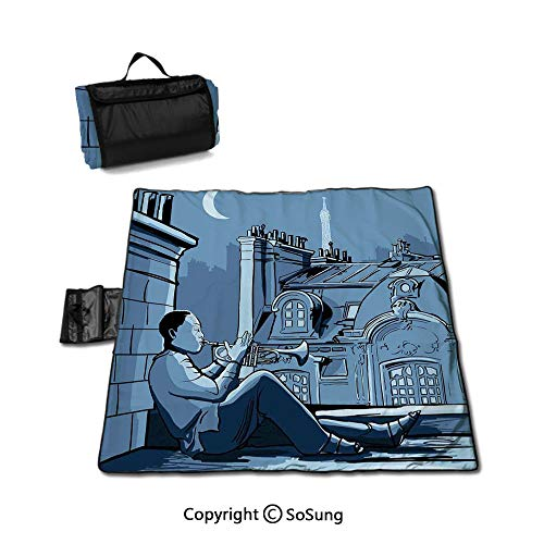 Jazz Music Decor Picnic Blanket with Tote,Trumpet Player on a Roof In Paris at Night Eiffel Moon Europe Illustration Decor Sandproof & Waterproof Picnic Mat Tote for Camping Hiking Grass Travelling,Bl (Best Trumpet Players Of All Time)