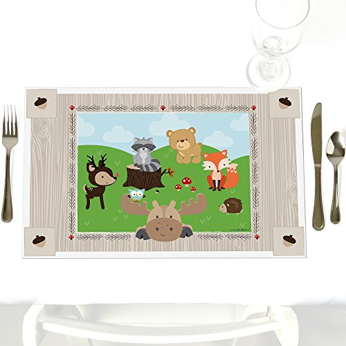 Woodland Creatures - Party Table Decorations - Baby Shower or Birthday Party Placemats - Set of 12