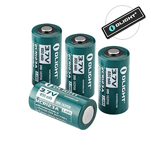 (OLIGHT 650mAh 16340 RCR123A 3.7v Lithium-ion Rechargeable Batteries Compatible with S MINI SMINI H1 Headlamp S1 S10R S10C S10 S10R II S10R III Flashlights Pack of 4,with Patch)
