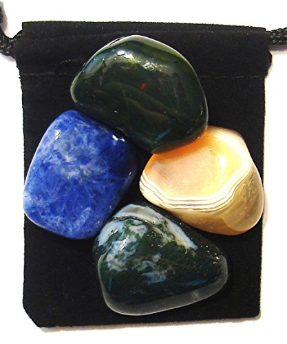 The Magic Is In You Lymphatic System Tumbled Crystal Healing Set with Pouch & Description Card - Agate, Bloodstone, Moss Agate, and Sodalite ()