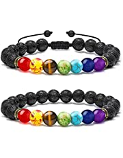 M MOOHAM Chakra Bead Bracelets - 8mm Natural Lava Rock Stones Beads Bracelets, Men Stress Relief Yoga Beads Aromatherapy Essential Oil Diffuser Bracelets 7 Chakras Anxiety Bracelet for Women