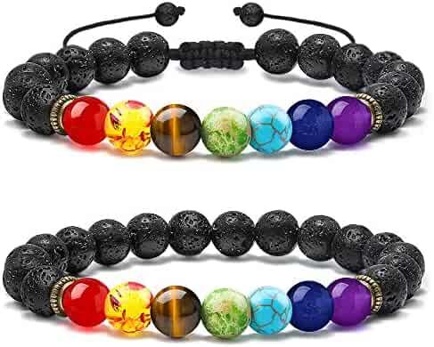 M MOOHAM Chakra Bead Bracelets - 8mm Natural Lava Rock Stones Beads Bracelets, Men Stress Relief Yoga Beads Aromatherapy Essential Oil Diffuser Bracelets 7 Chakras Anxiety Bracelet for Women