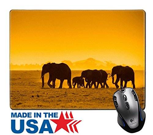 "MSD Natural Rubber Mouse Pad/Mat with Stitched Edges 9.8"" x 7.9"" silhouettes of elephants amboseli national park kenya 5380911 Customized Desktop Laptop Gaming Mouse Pad (Kenya New Metal)"