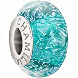 Chamilia Authentic Sterling Silver Murano Glass Turquoise Sparkle Charm 2116-0099