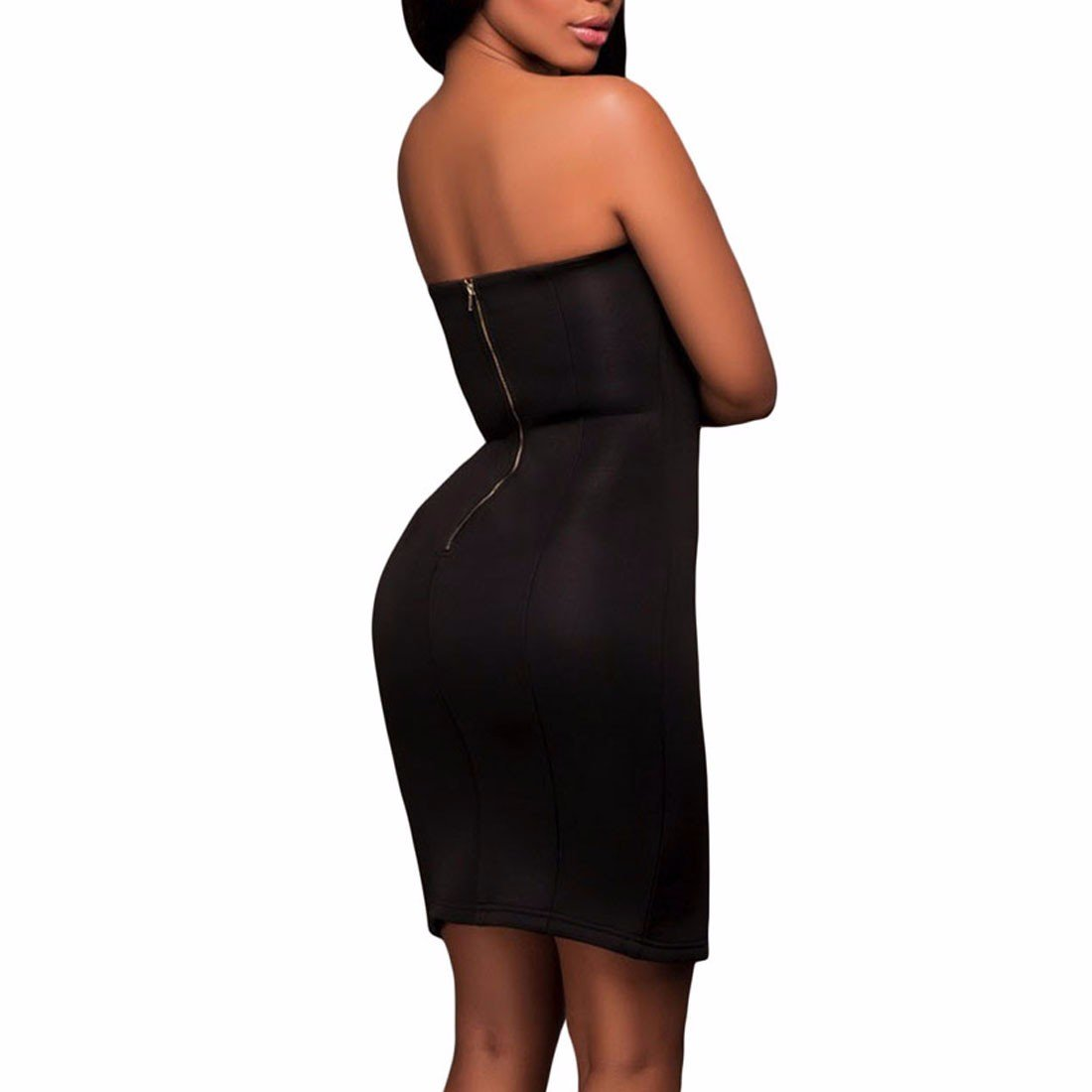 Women Low Cut Off Shoulder Sleeveless Split Helm Bodycon Stretchy Midi Dress: Amazon.co.uk: Clothing