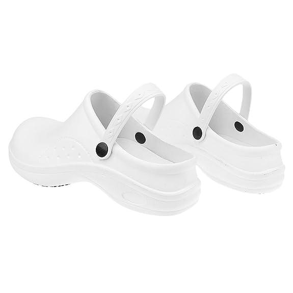 MagiDeal Zapatos de Enfermería de Cocinero de Mujeres Hombres Plástico Resistente al Agua Reduce Fatiga de Pie 2 Colores - Negro, 37