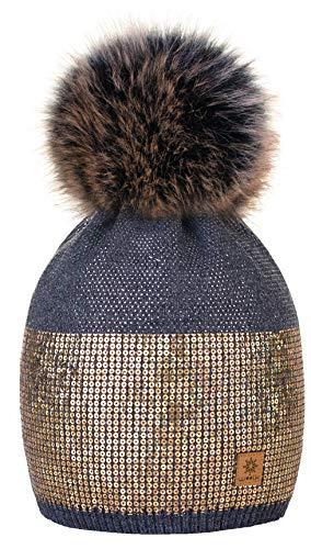 Gris Pompon Taille Femme Lady Foncé Gros Coloris Crystals Fourré Pour Hiver Bonnets 4sold Et Small Unique Bonnet Sequins Tricoté Tgwqvg7