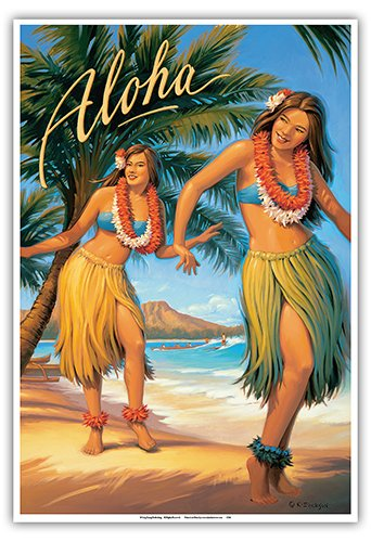 (Aloha - Hawaii Hula Dancers - Vintage Style Hawaiian Travel Poster by Kerne Erickson - Master Art Print - 13 x 19in)