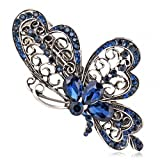 Womens Amazing Butterfly Hairpin Blue Crystal Charming Barrette Hair Clip Headwear Accessories Jewelry for Woman Girls Silver Plated