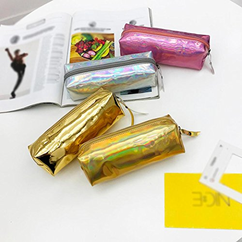 BANAA solid laser pouch bag Unisex multifunctional fashion phone cosmetic leather makeup Gold bag pen portable travel zipper handbag bag Rose S5T5ZwCqt