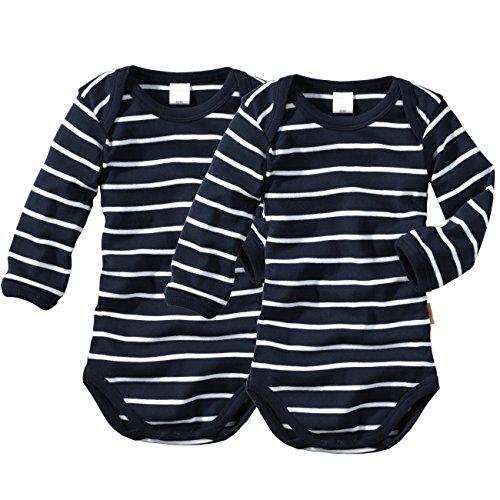 wellyou, 2er Set Kinder Baby-Body Langarm-Body, marine-blau weiß gestreift, geringelt, für Jungen und Mädchen, Feinripp 100% Baumwolle, Größe 50-134