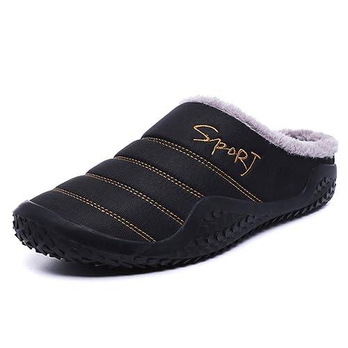 Zapatillas Hombre Invierno Pantuflas Caliente Casa Slippers Algodón Interior Al Aire Libre Zapatos Negro Azul 39 48 BK43