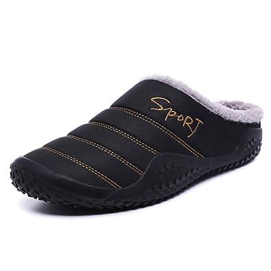Waterproof Men/'s Winter Warm Fur-Lined Cotton Boots Casual Shoes Indoor Slippers