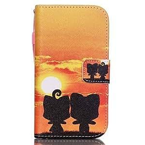 El nuevo puesta del sol gato llave banda pu de piel Material Flip de tarjeta funda para Samsung Galaxy G530/G360