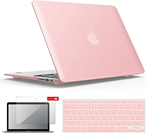 IBENZER Macbook Air 11 Inch Case Model A1370 A1465, Soft Touch Plastic Hard Shell Case Bundle with Keyboard Cover & Screen Protector for Apple Laptop Mac Air 11, Rose Quartz, A11RQ+2