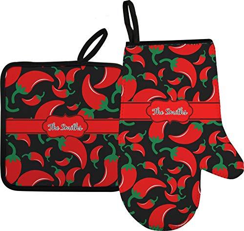 RNK Shops Chili Peppers Oven Mitt & Pot Holder (Personalized)