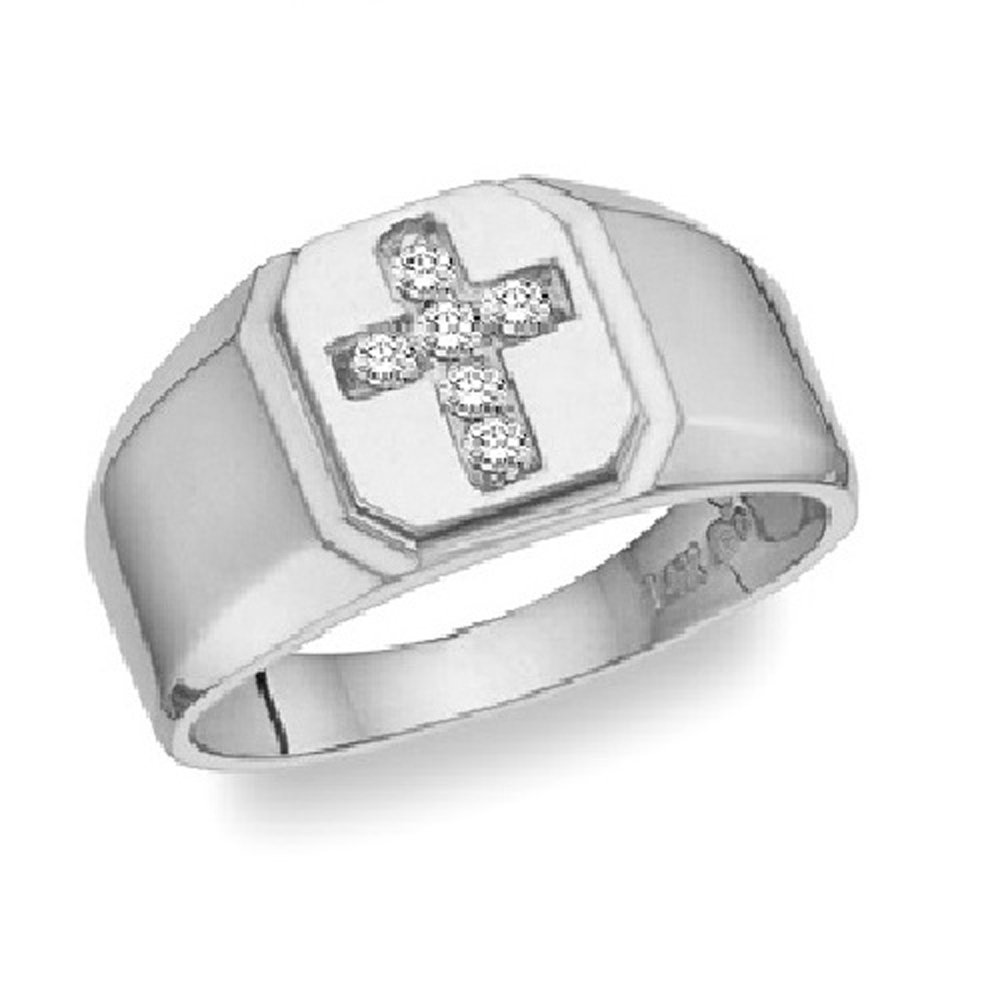 Silvercz Jewels Diamond Accents Cross Men's Wedding Band Ring In 14K White Gold Fn Sterling