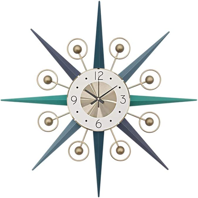 SHISEDECO Mid-Century Metal Wall Clock, Large Starburst Decoration for Home, Kitchen,Living Room,Office (Multi Color, 22