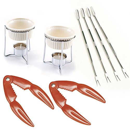 Norpro Crab and Lobster Serving Set for Two Including Two (2) Red Stainless Steel Crab/ Lobster/ Shellfish Crackers, 2 Ceramic Butter Warmers, and 4 Stainless Steel Seafood (2 Butter Warmers)