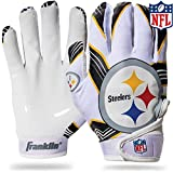 Franklin Sports Pittsburgh Steelers Youth NFL Football Receiver Gloves – Receiver Gloves For Kids – NFL Team Logos and Silicone Palm – Youth M/L Pair