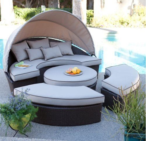 UPC 768352606058, Belham Living All-weather Wicker Sectional Outdoor Daybed with Sunbrella Shade Option Patio Furniture Set, Loveseat with Canopy, Ottoman, Benches, Perfect for Patio and Poolside Seating