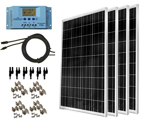 WindyNation-400-Watt-Solar-Kit-4pcs-100-Watt-Solar-Panels-30A-P30L-LCD-PWM-Charge-Controller-Mounting-Hardware-40ft-Cable-MC4-Connectors-RVs-Boats-Cabins-Camping-Off-Grid
