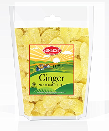 SUNBEST Dried Crystallized Ginger Slices in Resealable Bag (1 Lb)