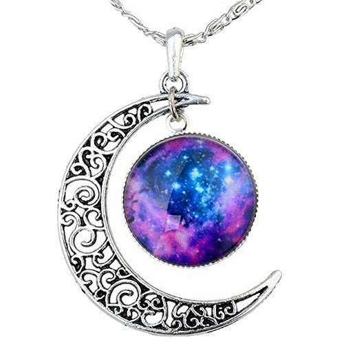 FANSING Costume Jewelry Easter Day Gift Galaxy Necklace Crescent Star Galactic Cosmic Moon Charm (Cosmic Girl Costume)