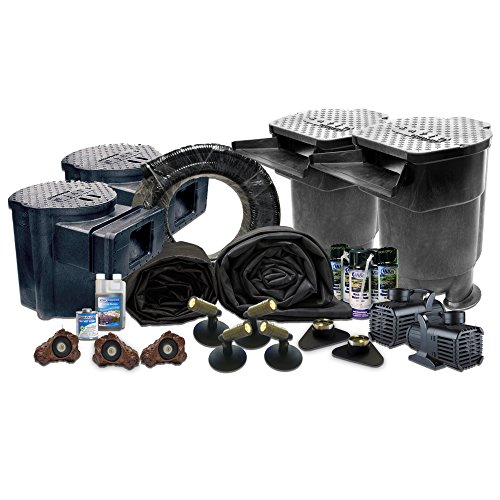 "35 x 40 Ultimate Koi Pond Kit With (2) 5,200 GPH Pumps (2) Savio Regular Skimmers & (2) 8.5"" Faceplates, (2) Savio Living Ponds Waterfalls US1"