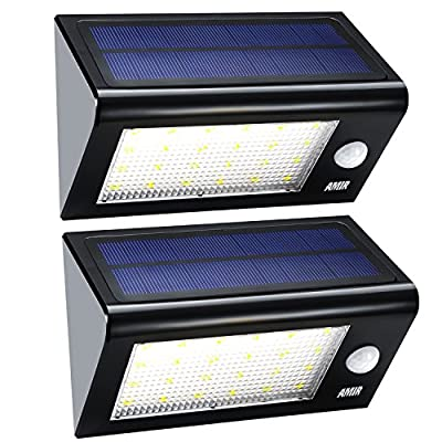 AMIR Solar Lights, Solar Powered Motion Sensor Light, Led Security Lights with 4 Modes, Waterproof & Auto On/Off for Patio, Deck, Yard, Driveway, Outdoor - Bigger & Brighter, Pack of 2