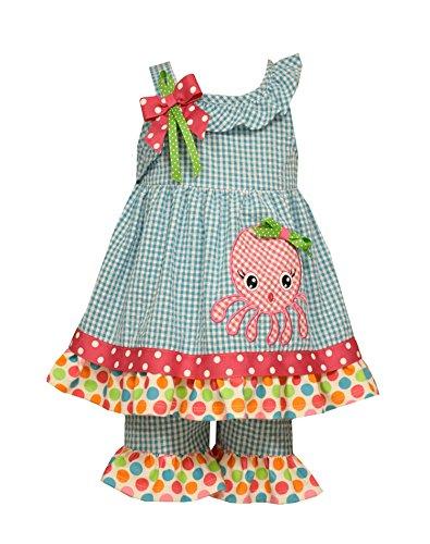 Bonnie Baby Baby Octopus Appliqued Seersucker Playwear Set, Turquoise, 3-6 Months ()