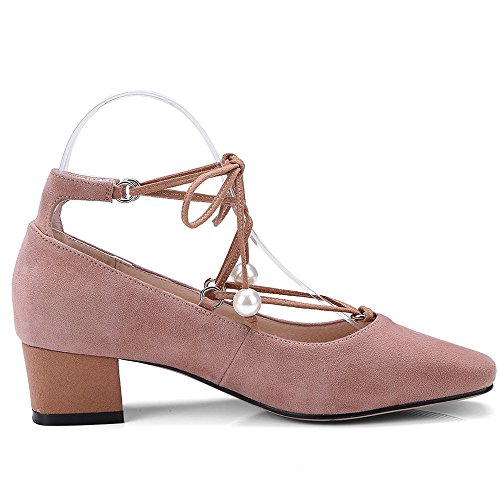 Nine Seven Suede Leather Womens Square Toe Chunky Heel Lace Up Handmade Pearls Decorated Pumps Shoes Pink CKqGQYZ2YH