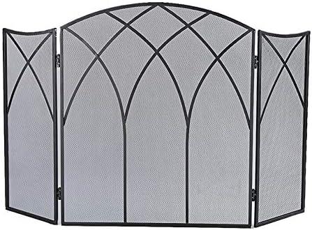 暖炉用品 アクセサ ブラックメタル暖炉スクリーン折り畳み式の3パネル、赤ちゃんの安全証明フェンススパークガードカバー - 50.4「L×31.5」H