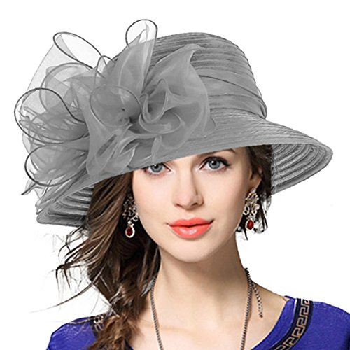 VECRY Lady Derby Dress Church Cloche Hat Bow Bucket Wedding Bowler Hats (Grey, Medium) ()