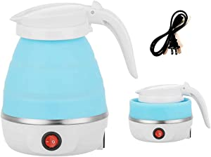 NUFR Travel Foldable Electric Kettle, 5 Mins Quick Boiling Portable Travel Kettle, Food Grade Silicone Kettle with Separable Power Cord and Handle Boil Dry Protection, 0.6 Liter (Blue)
