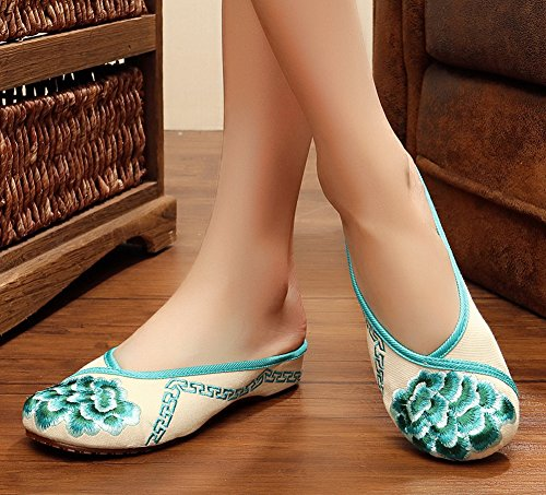 Shoes Green Slippers Flats Avacostume Toe Round Womens Embroidery a1B80c4Y