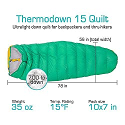 Paria Outdoor Products Thermodown 15 Degree Down Sleeping Quilt - Ultralight Cold Weather, 3 Season Quilt - Perfect for Backcountry Camping, Backpacking and Hammocks (Regular)