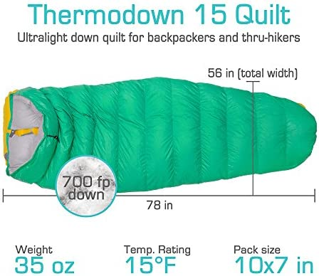 Ultralight Cold Weather Paria Outdoor Products Thermodown 15 Degree Down Sleeping Quilt Backpacking and Hammocks 3 Season Quilt Perfect for Backcountry Camping