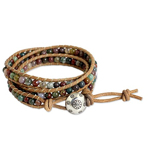 - NOVICA Leather and Dyed Jasper Adjustable Wrap Bracelet .925 Sterling Silver Charm, Inner Harmony'