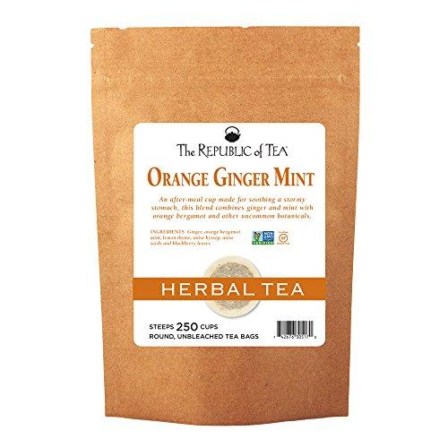 The Republic Of Tea Orange Ginger Mint Tea, 250 Tea Bags Caffeine-Free Gourmet Herbal Tea - Mint Tea Caffeine